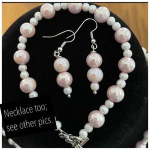 3-pc. light pink marbelized jewelry set